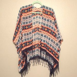 🖤Geometric Print Chiffon Kimono